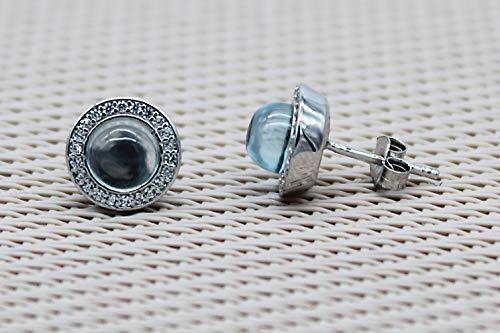 Orecchini argento semiprezi pietre blu. Orecchini con zirconi topazio blu. Orecchini a bottone in argento