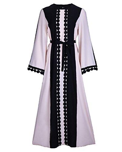 NiSeng Damen Muslim Abaya Dubai Kleider Für Frauen Islamischen Kleid Islamische Kleidung Muslimische Kleider Schwarz M (Islamische Kleidung)