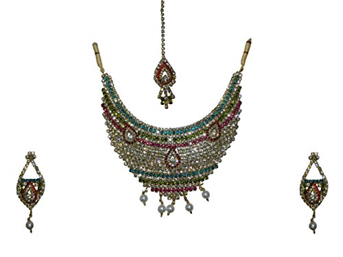 Bollywood Set Rani bunt Multicolor Strass mit Bangles und Bindis indisches Schmuck Set Accessoire