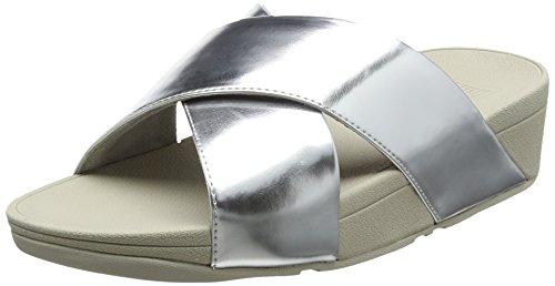FitFlop Damen Lulu Cross Slide Peeptoe Sandalen, Silber (Silver Mirror 300), 40 EU -
