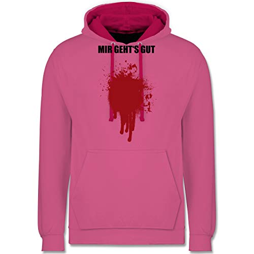(Shirtracer Halloween - Mir geht's gut Blutfleck Kostüm - S - Rosa/Fuchsia - JH003 - Kontrast Hoodie)
