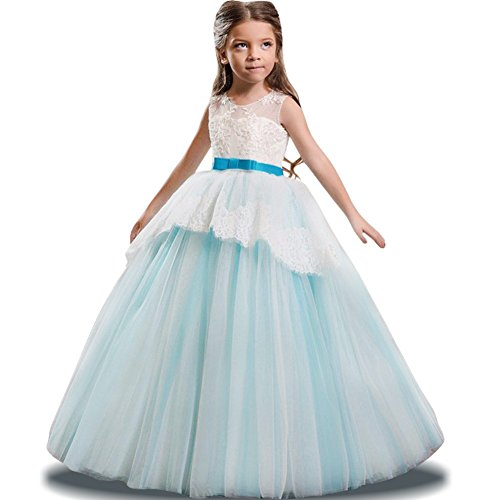 (LZH Maedchen Prinzessin Kleid Hochzeits Festzug Party Spitze Tüll Brautjungfern Kleider)