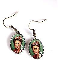 Pendientes cabujón, Frida Kahlo, México, Bohemia chic, gitano, multicolor, acabado en bronce