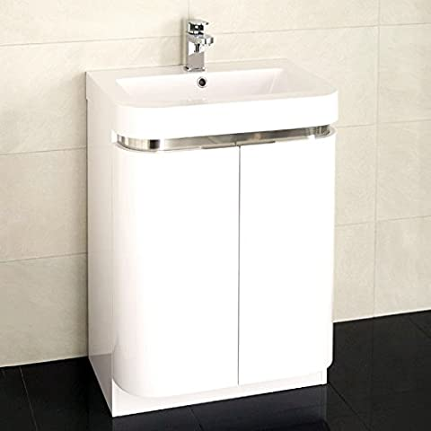 600 Vanity Unit Basin with Cabinet White (+5 Styles of 600 Vanity Units) ; Storage Cabinets with Inset Basins ; Contemporary Soft Close Gloss Designer Floor Standing Sinks ; Modern Curved Bathroom Sink Cupboard