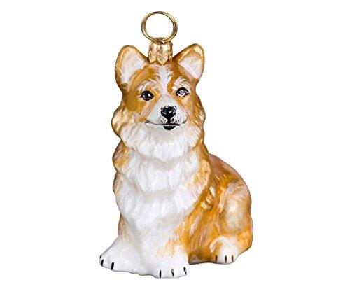 Joy Pembroke Welsh Corgi Sitting Dog Polish Blown Glass Christmas Ornament -