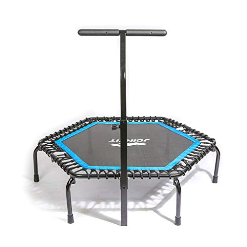 Lxn Silent Fitness Mini Blue Trampolin mit verstellbarem Handlauf Lenker - Indoor Rebounder für Erwachsene Urban Cardio Workout Heimtrainer Max Limit 330 lbs