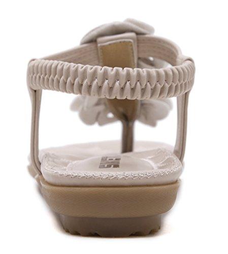 Fortuning's JDS Adatti a fiore T-cinghia delle donne dei sandali dei pattini degli appartamenti Beige