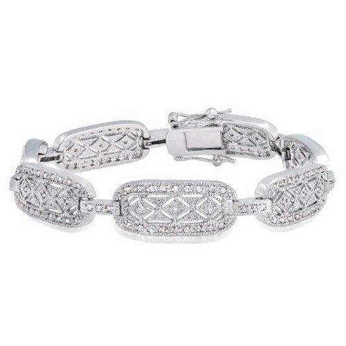 Bling Jewelry Rodio placcato in ottone bracciale vintage a catena CZ