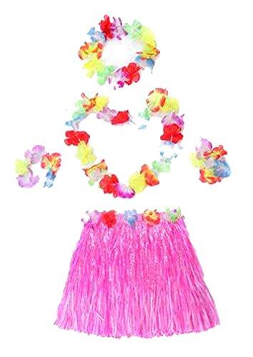 Doppel-Rock-Feiertags-Party-Kleidung Gras Röcke Hawaiian Grass Skirt Rosa