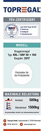 3,3m Kragarmregal verzinkt, 300cm hoch, 100cm tief, 3 Kragarmebenen – Langgutregal Schwerlastregal - 8