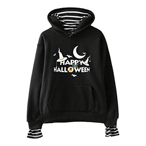TEFIIR Halloween Sweatshirt für Damen,Kürbis Brief Drucken Pullover Lose Streifenheftung Hoodies Herbst- und Winter Sweaters für Freizeit, Dating und - Werwolf Hoodie Kostüm