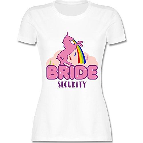 Shirtracer JGA Junggesellinnenabschied - JGA Bride Security Einhorn - Damen T-Shirt Rundhals Weiß