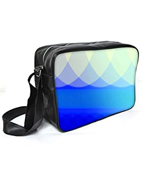 Snoogg blau Wellen Abstrakt Leder Unisex Messenger Bag für College Schule täglichen Gebrauch Tasche Material PU