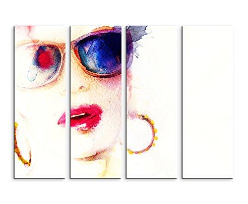 Fotoleinwand 4Teile je 90x30cm Bild - Frau mit Sonnenbrille Kreolen und Kussmund