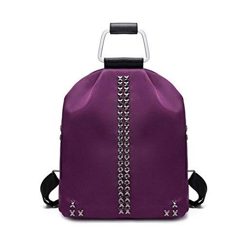 Y&F Frau Oxford Tuch Reiserucksack Rucksack Schultertaschen Handtasche Purple