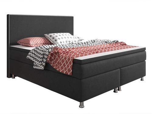 Inter King Size Boxspringbett, Stoff, anthrazit, 200 x 180 x 60 cm