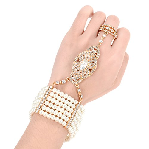 rlen Armband Ring Set Dehnbar Great Gatsby Inspirierte Frauen 1920er Retro Accessoires für Hochzeitsfeier (Vergoldet) (Hand Armband)
