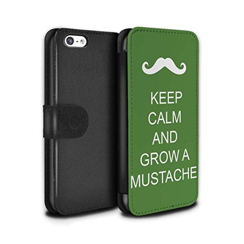 Stuff4 Coque/Etui/Housse Cuir PU Case/Cover pour Apple iPhone 5C / Pousser Moustache/Vert Design / Reste Calme Collection Pousser Moustache/Vert
