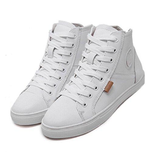 Transer® Damen Flach Mokassins Sommer/Herbst Casual Schuh Künstliche PU+Gummi Sandelholz Slipper(Bitte eine Nummer größer bestellen. Vielen Dank!) Weiß