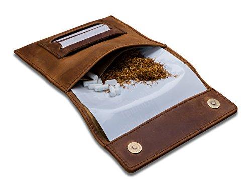 Indian Pearl Tabaktasche mit Geschenkbox, Echtes Leder, Extratasche mit Metallreißverschluß, Doppel-Blättchenfach, Magnetverschluß, Filterfach, Hellbraun, Tabak-Beutel, Drehertasche