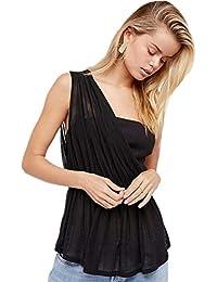 4630969dd Tshirt Mujer Elegantes Chiffon Verano Tops Moda Color Sólido Plisado  Especial Estilo Camisas One-Hombro