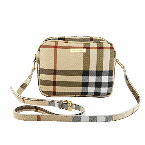2e4e97d12cfb SEPT MIRACLE Womens Girls Medium Crossbody Bag Lightweight Classic Modern Shoulder  PU Leather Bag (Plaid