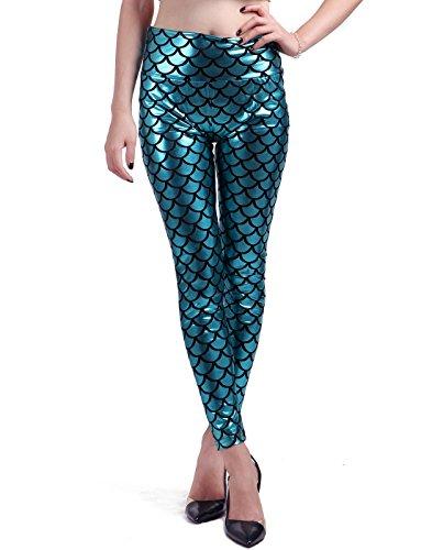 glänzender Metallic-Look, Fischschuppen-Muster / Meerjungfrauenschwanz, hohe Taille, Stretch Gr. XL, blaugrün (Niedliche Halloween Kostüme Für Kaltes Wetter)