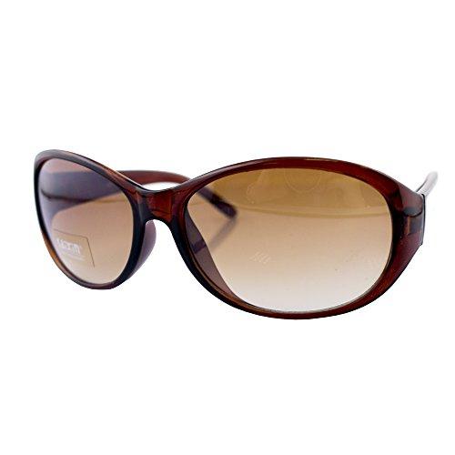 HAND H1043 A5 stilvolle klar Brown Frame Damen Mode Sonnenbrillen - Breite an Tempeln 140 mm - 100% UV400 Schutz