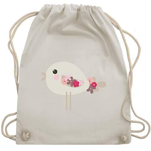 Tiermotive Kind - Süßer Vogel - Frühlingstiere mit Blumen - Unisize - Naturweiß - WM110 - Turnbeutel & Gym Bag -
