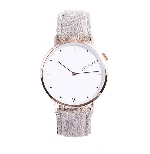 LIVEALIFE grau Unisex Armbanduhr dünn Analog Quarz 40mm Leder Wildleder Vintage Business Look Minimalistisches Design rose gold Damen und Herren