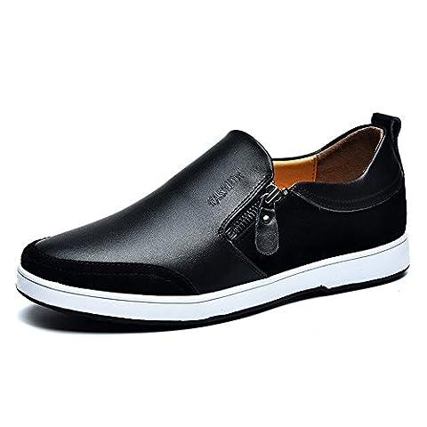 Mens Casual Flache Leder Loafers Driving Slip auf Low-Top-Schuhe Lightweight Faul Invisible Höhe Erhöhung Schuhe 2,36 Zoll Taller für Mann (UK7.5 = EU41, Schwarz)