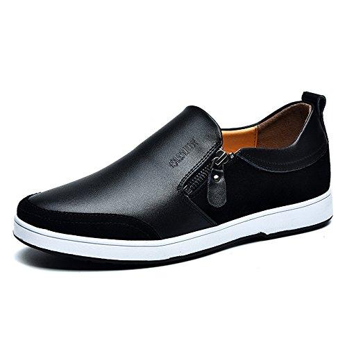 Mens Casual Flache Leder Loafers Driving Slip auf Low-Top-Schuhe Lightweight Faul Invisible Höhe Erhöhung Schuhe 2,36 Zoll Taller für Mann (UK8.5 = EU43, Schwarz)