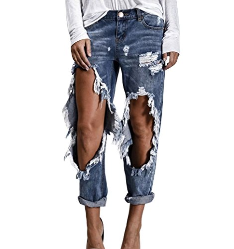 Guiran donna jeans strappati pantaloni a vita alta pantaloni boyfriend distressed denim pantaloni xl blu chiaro