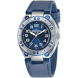 Chronostar Alluminium Collection Men's Quartz Watch with Blue Dial Analogue Display and White Leather Strap R3751224001