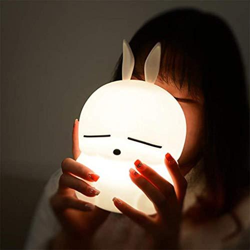 Lampada da notte a LED in silicone bianco coniglio con porta USB, protezione decorativa per gli occhi a risparmio energetico, comoda luce di controllo, adatta per l'alimentazione del bambino