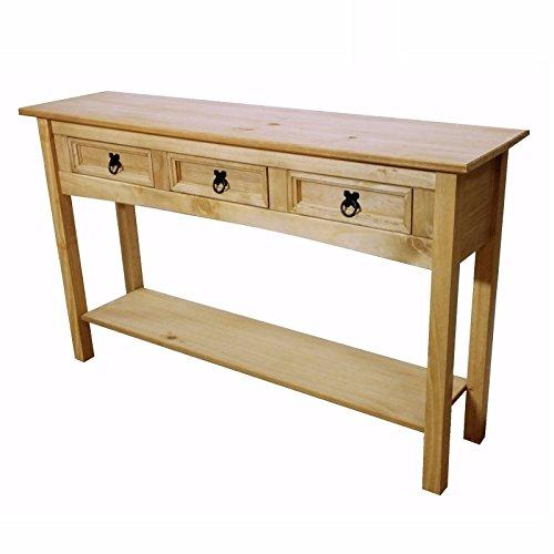 mercers furniture corona table console 3 tiroirs bois cire antique 122 x 32