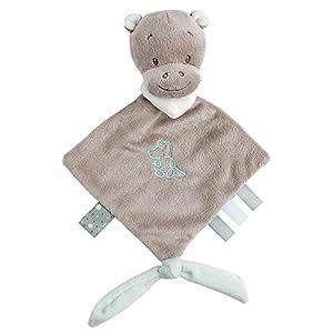 Nattou Mini doudou Hipopótamo Hipólito con accesorio para el chupete, Lea, Loulou, Lea e Hipólito, 20 x 38, Gris