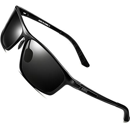 ATTCL Herren Polarisiert Sonnenbrille Al-Mg Metallrahmen antreibt Ultra leicht 16520 schwarz