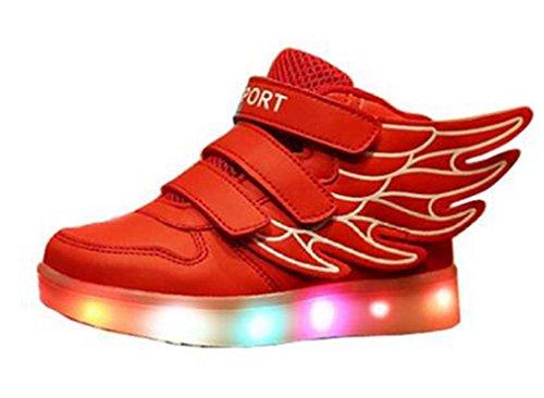 Littlepanda Baskets Lumineuses Led - Garçon Rouge