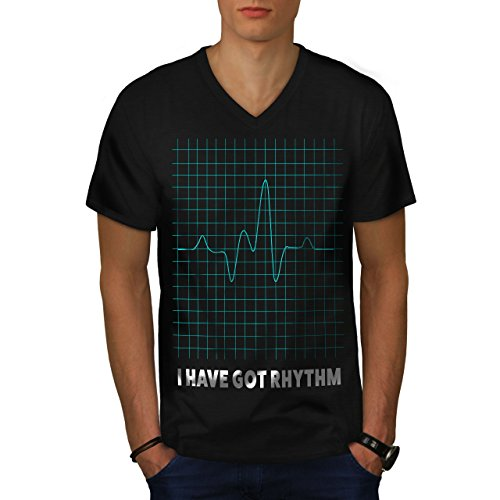 wellcoda Haben Rhythmus Männer XL V-Ausschnitt T-Shirt