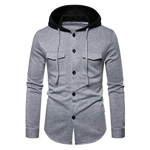 Ziyou Men Autum Winter Long Sleeve Button Pockets Hooded Sweatshirt Printed Outwear Tops Blouse(L, Grau) (Sweatshirt Hooded Button)