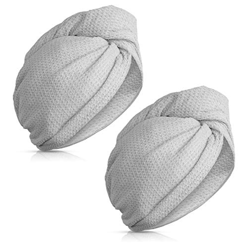 Navaris 2x Turbante per capelli microfibra Asciugamano con bottone per asciugatura rapida Set asciugamani testa panno asciugacapelli grigio