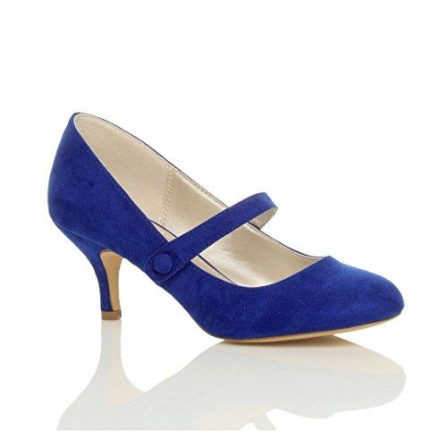 Donna media tacco mary jane lavoro festa elegante scarpe di moda taglia 3 36