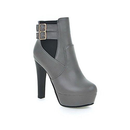 AgooLar Damen Hoher Absatz Weiches Material Niedrig Spitze Rein Reißverschluss Stiefel Grau