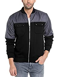 Campus Sutra Mens Cotton Jacket (Azw17L_Jkfldr2Pk_M_Pln_Chbl_Az_L_Charcoal::Black_Large)