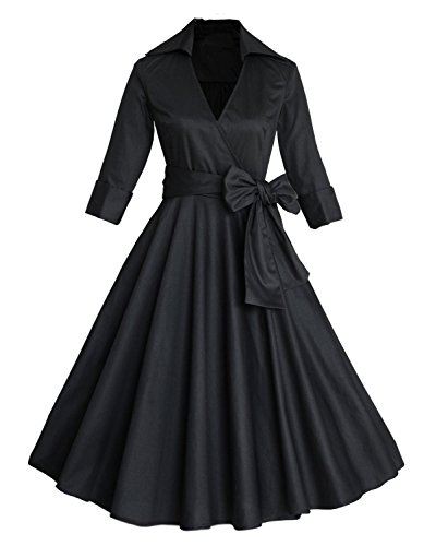 E-Girl M1139A18D Robe de bal Vintage pin-up 50's Rockabilly robe de soirée cocktail,S-XXL Noir