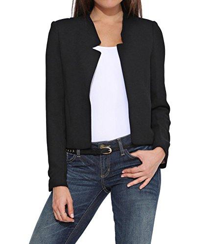 Damen Blazer Tailliert Kurz Elegante Langarm Slim Business Casual Anzug Kurzblazer Mantel Jacke Oberteil Schwarz S