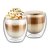 Ecooe Double Wall Cups Latte/Cappuccino/Tea Glass Cups 250ml/8oz, Set of 2