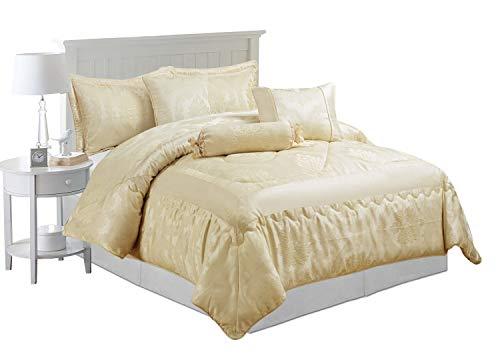 Bettwäsche-Set Jacquard 7-teilig, luxuriöse Tagesdecke, Bettdecke und passende Kissenbezüge, Jaquard-Gewebe, Betty Cream, King Size -