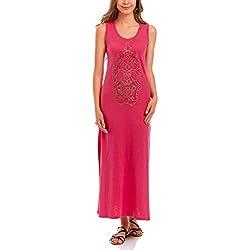 oodji Ultra Largo con diseño de pedrería, rosa